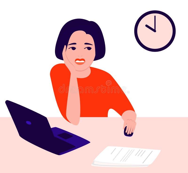悲伤、沮丧的年轻女性在办公室工作时的肖像 经历负面情绪,怀疑,冷漠,痛苦 库存例证