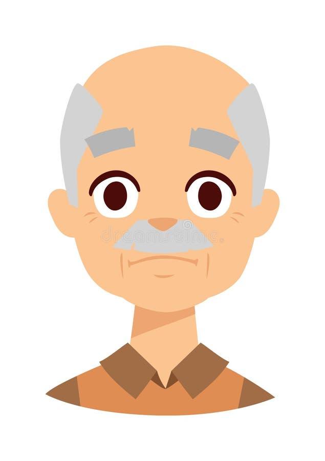 悲伤祖父面孔传染媒介例证 向量例证