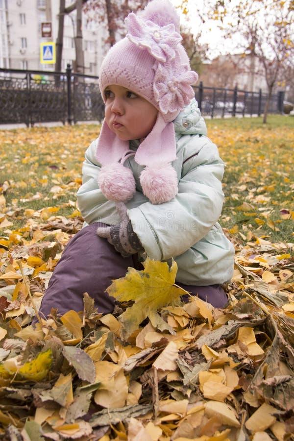 悲痛的女孩坐叶子 免版税图库摄影
