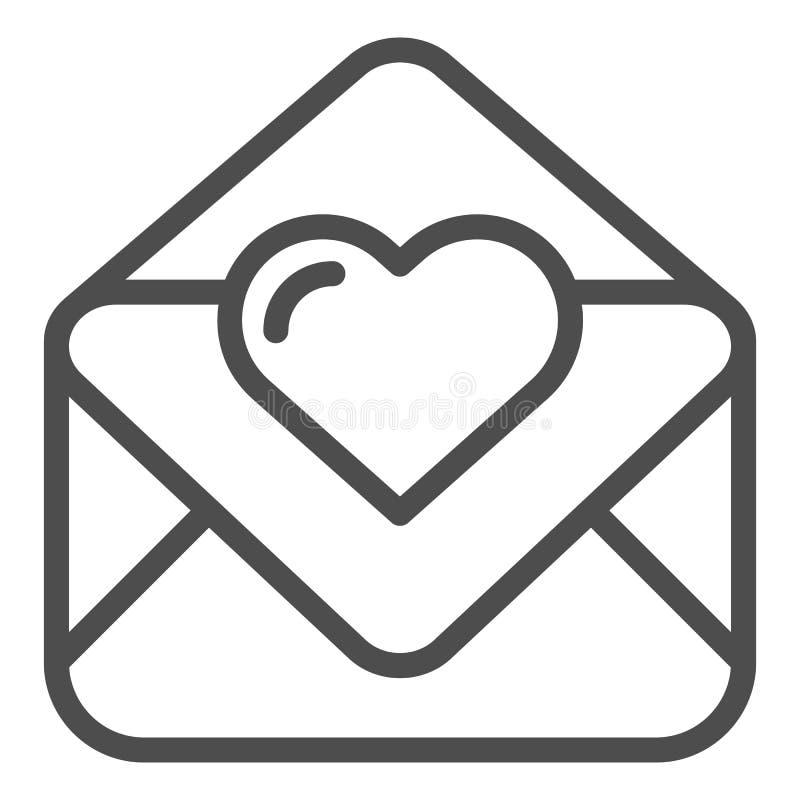 情书线象 华伦泰卡片在白色隔绝的传染媒介例证 与心脏概述样式设计的信封 库存例证