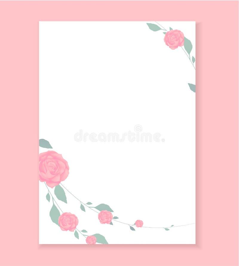 情书,空白的模板有罗斯花纹花样背景 向量例证