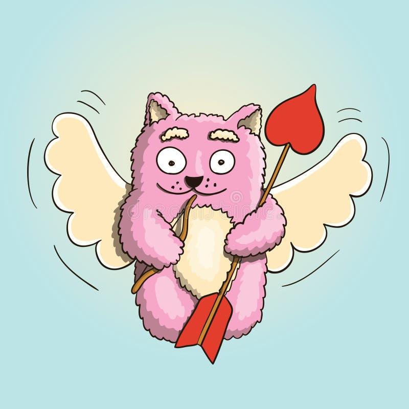 情人节、华伦泰丘比特桃红色猫与一点弓和大箭头准备好恋人` s心脏 库存例证