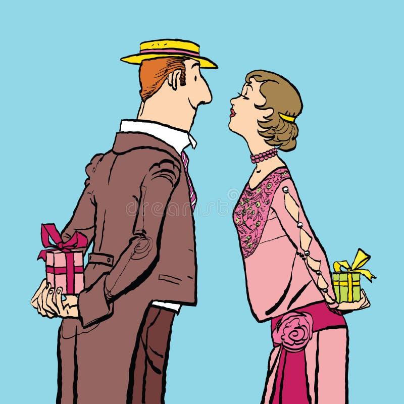 情人节、夫妇男人和妇女给礼物 向量例证