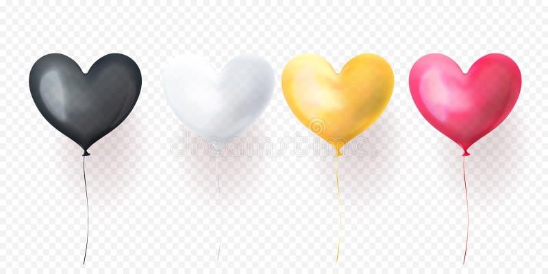 情人节、婚礼或者生日贺卡设计的心脏气球被隔绝的光滑的轻快优雅 传染媒介心脏氦气气球bl 向量例证