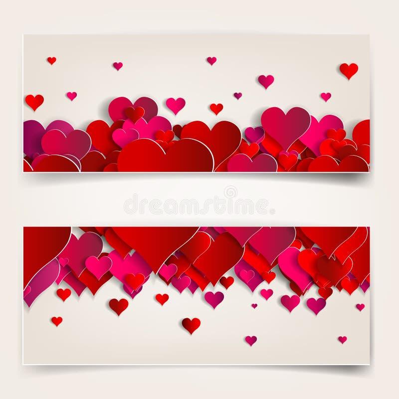 情人节。与纸心脏的抽象卡片 库存例证