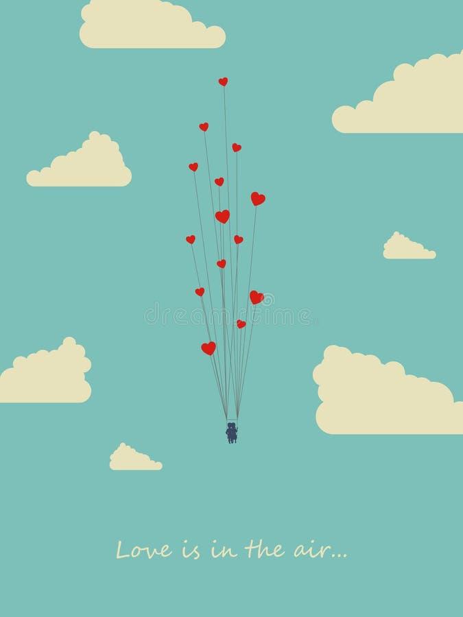 情人节与夫妇的卡片模板在心脏气球失去控制的摇摆 爱,浪漫史,幸福的标志 皇族释放例证