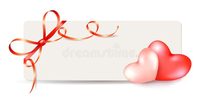 情人节与心脏夫妇的贺卡模板和与卷曲丝带的发光的红色弓 向量例证
