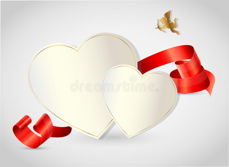 情人节与被切开的纸的摘要背景 库存例证