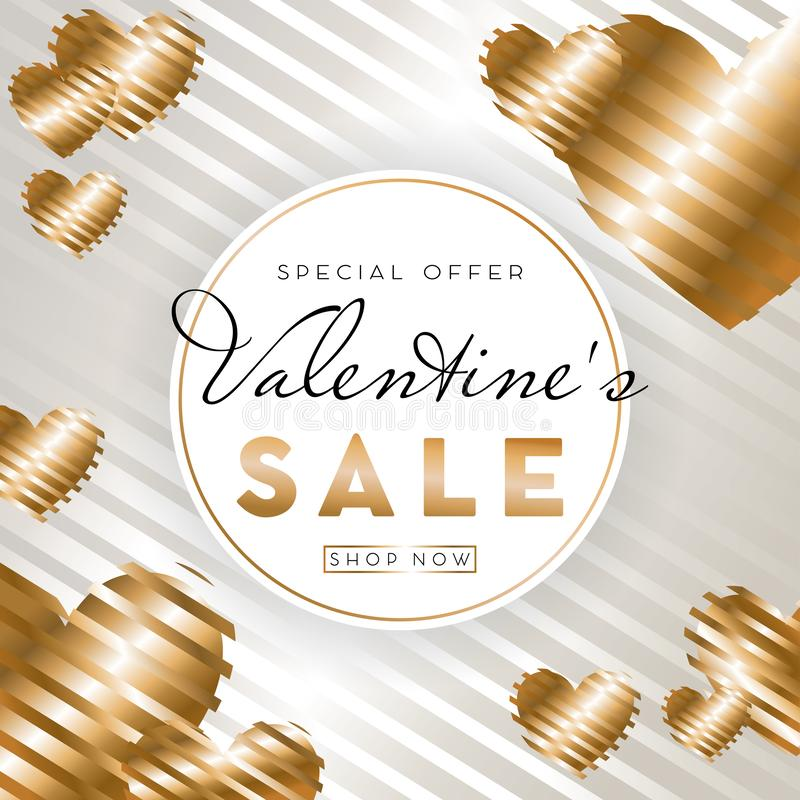 情人节与金黄心脏的销售背景在白色背景 向量例证