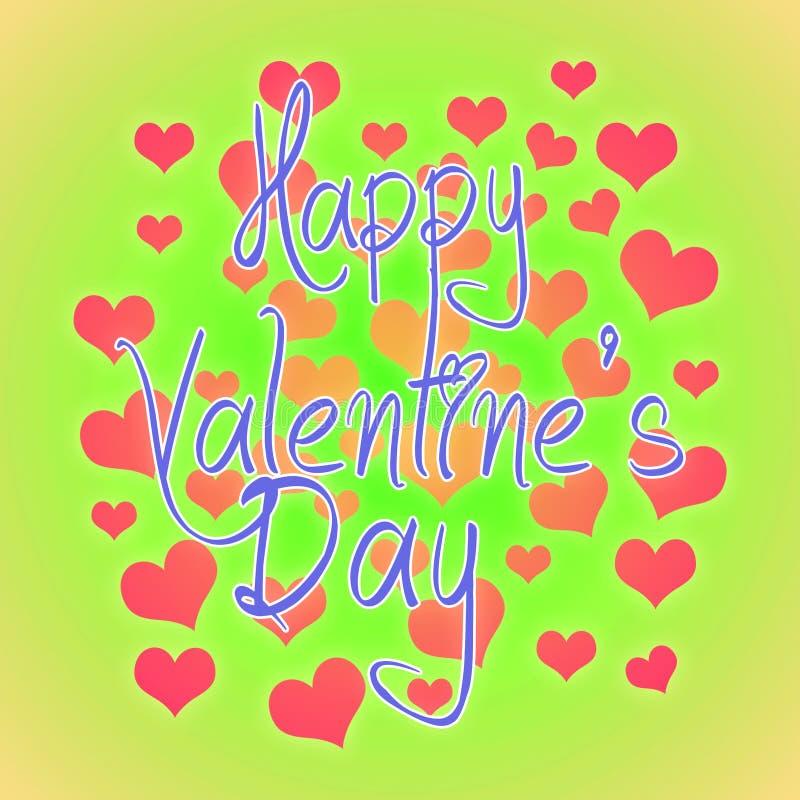 情人节例证 与问候的愉快的华伦泰卡片 字法商标,与许多心脏的书法题字 向量例证