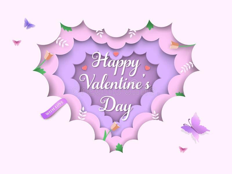 情人节分层了堆积3d与心形的云彩,春天花,郁金香,分支,绿色叶子,蝴蝶的背景 库存例证