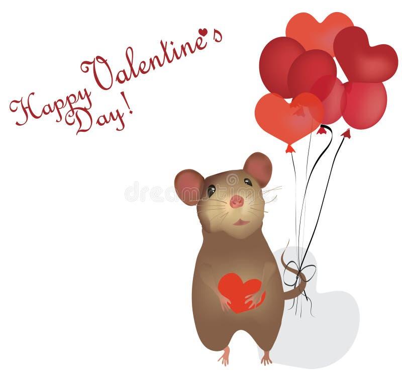 情人节卡片。St.与老鼠和心脏的情人节 库存例证