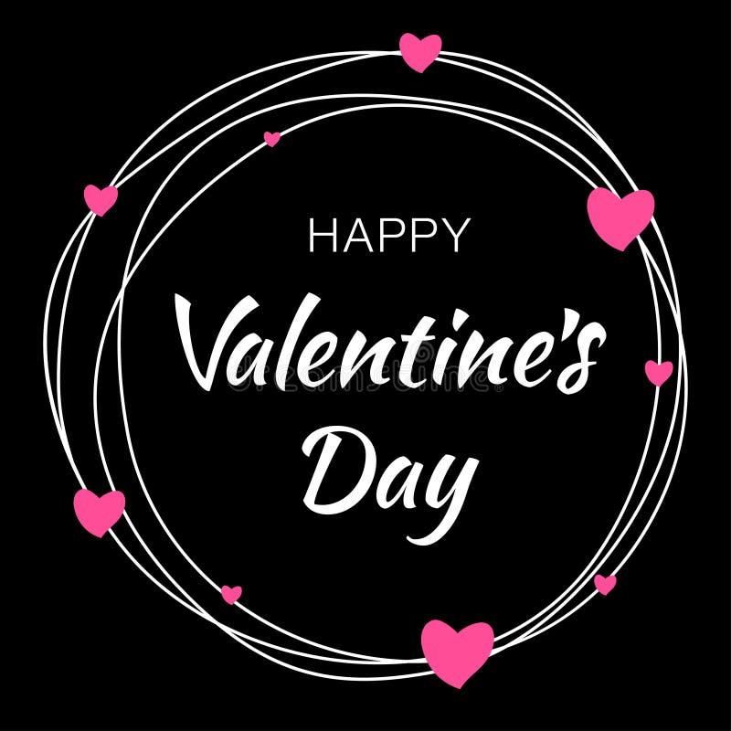 情人节卡片设计 乱写与印刷字法的空白线路圈子在与桃红色心脏的黑背景 向量例证