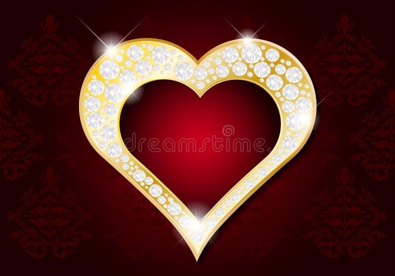 情人节卡片-与金刚石的抽象金黄心脏 向量例证