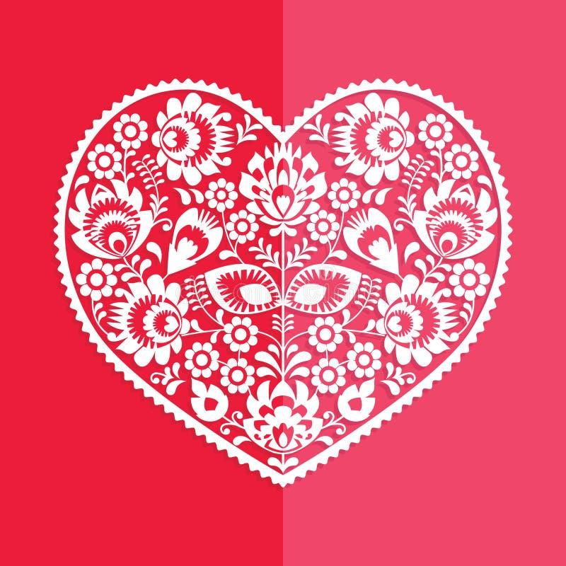 情人节卡片-波兰民间艺术心脏Wycinanka 皇族释放例证