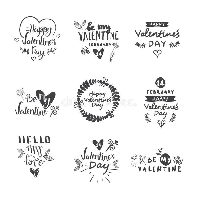 情人节印刷术字法商标集合 设计象征,与心脏的行情文本装饰横幅的,招呼 向量例证