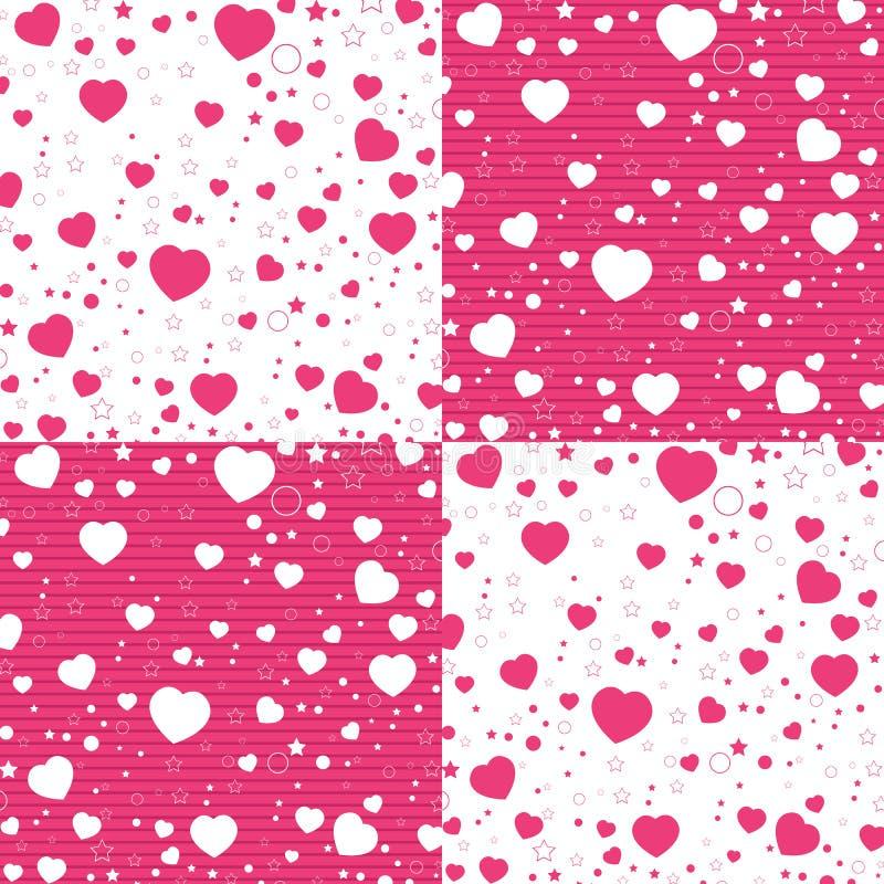 情人节和五颜六色的心脏在白色和桃红色样式 传染媒介情人节背景 向量例证