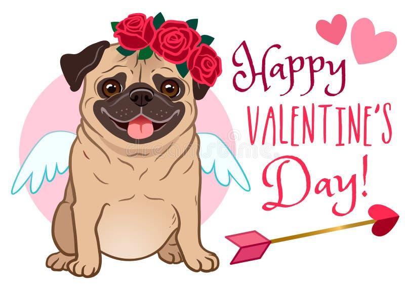情人节哈巴狗狗宠物贺卡 在爱的逗人喜爱的滑稽的哈巴狗,穿戴作为丘比特,与翼,心脏箭头,红色玫瑰色花 向量例证