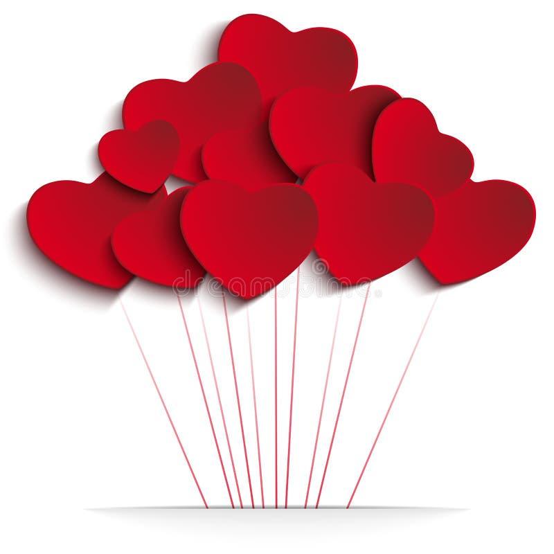 情人节在红色背景的心脏气球 库存例证
