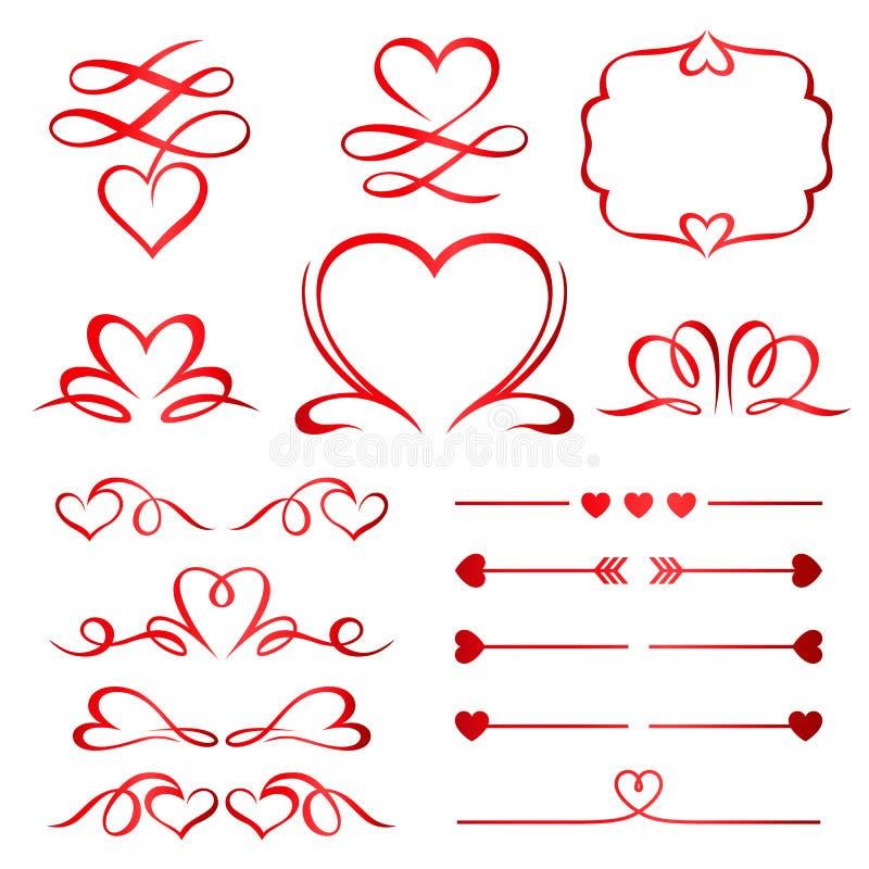 情人节套红色箭头、分切器和元素 向量例证