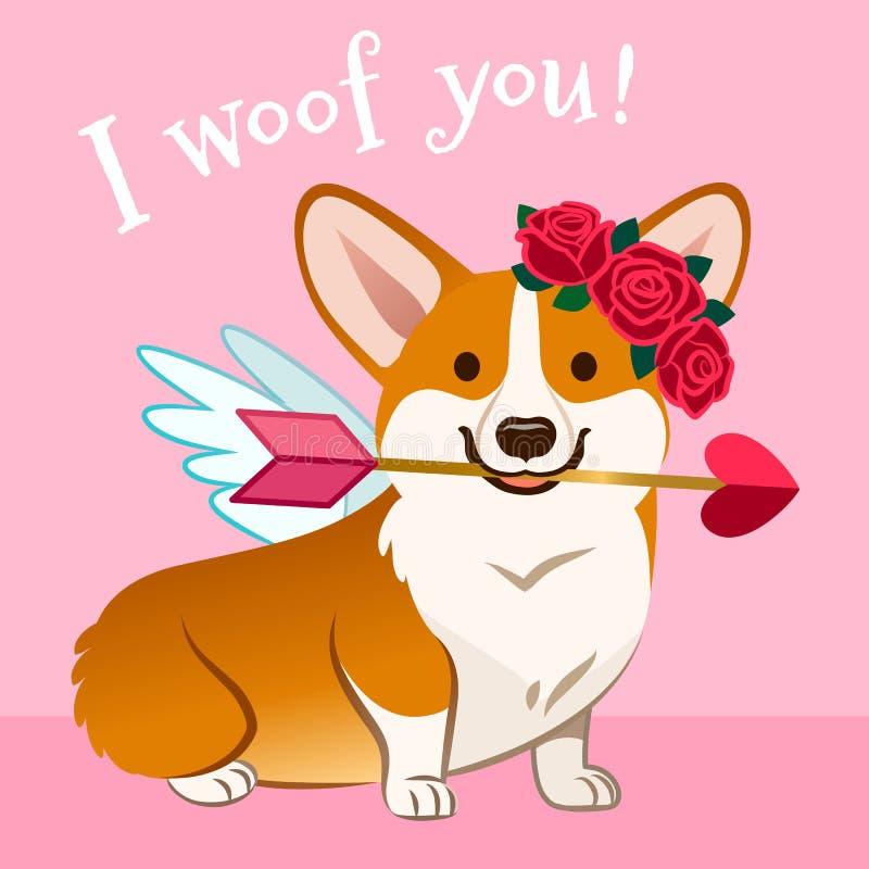 情人节小狗狗卡片 在爱的逗人喜爱的丘比特威尔士小狗小狗,与翼,在头的红色玫瑰色花圈,拿着桃红色心脏 向量例证
