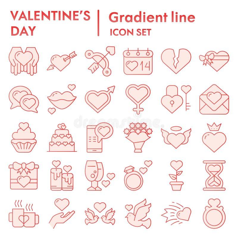 情人节平的象集合,爱标志汇集,传染媒介剪影,商标例证,私通标志桃红色梯度 库存例证