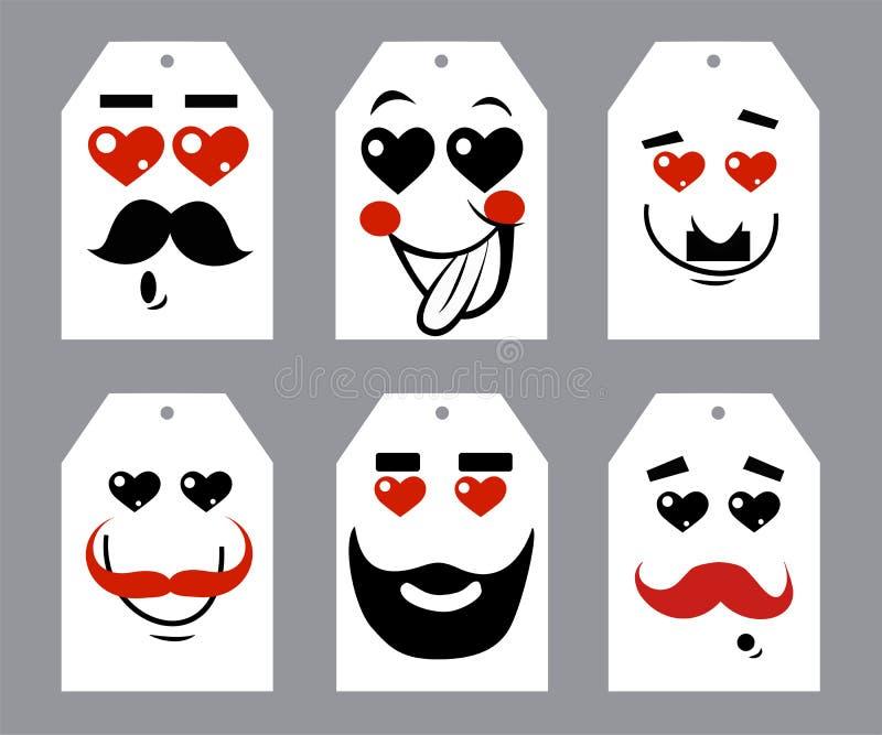 情人节心脏和髭 免版税库存图片