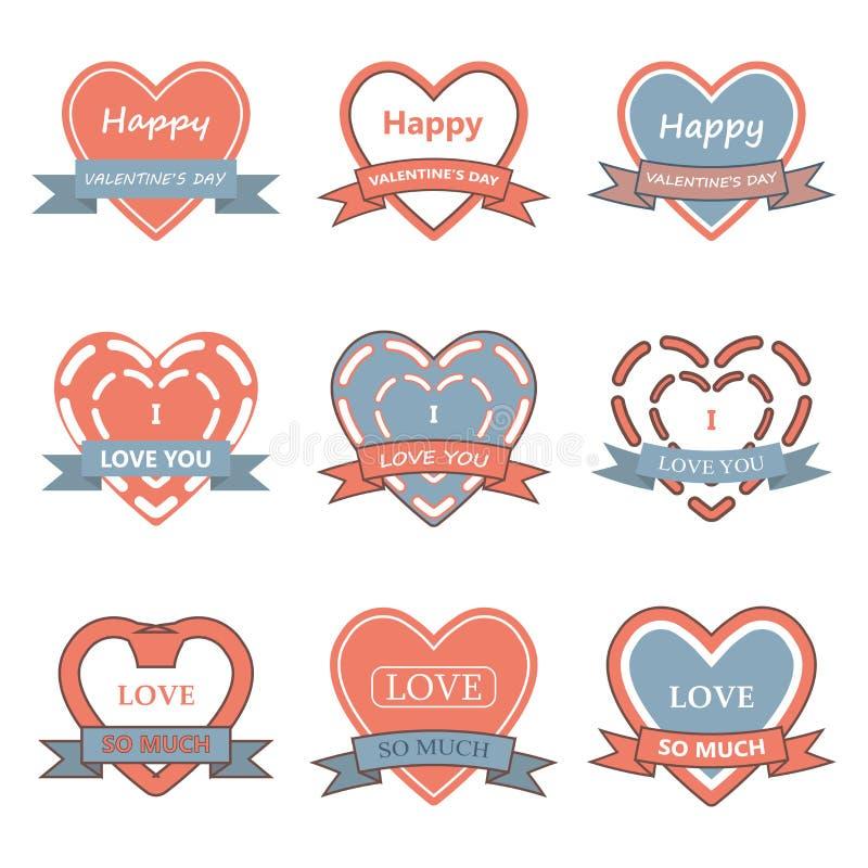 情人节心脏徽章、标签、丝带和贺卡集合 向量例证
