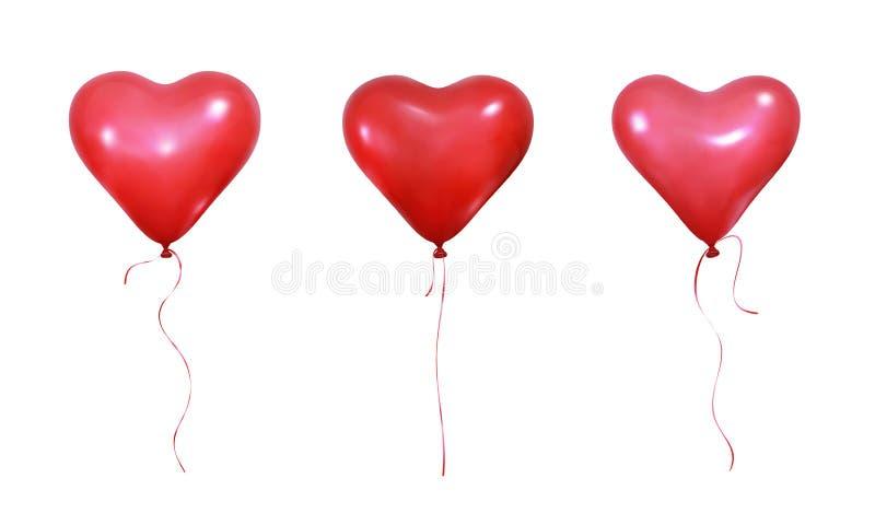 情人节心脏气球 设置心形和丝带现实氦气气球  婚礼和华伦泰的气球 皇族释放例证