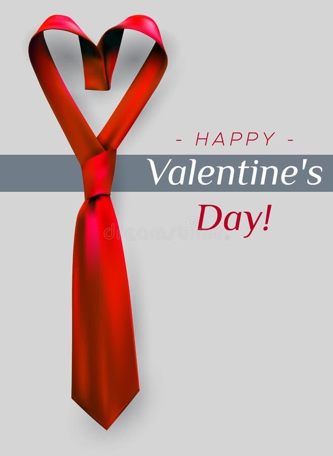 情人节心脏领带 向量例证