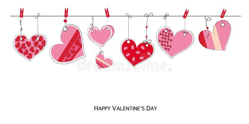 情人节快乐与垂悬减速火箭的爱华伦泰心脏的乱画的卡片 库存例证