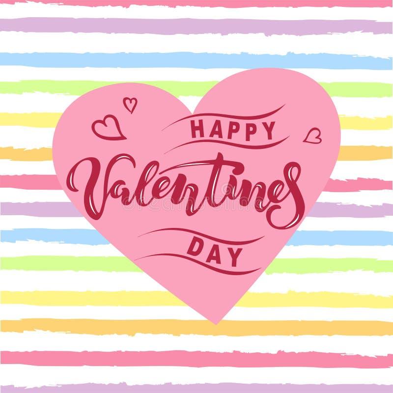 情人节快乐与心脏和彩虹颜色条纹的例证 作为商标,徽章的手写的在上写字的华伦泰 皇族释放例证