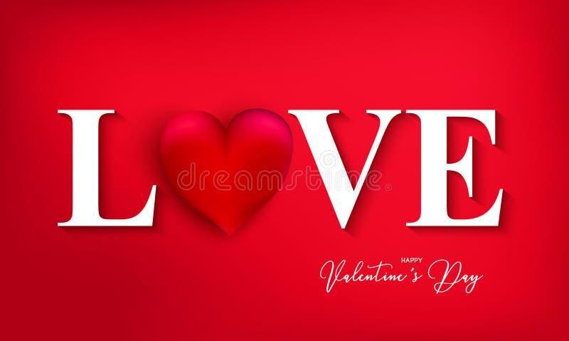 情人节快乐与心脏的横幅在红色背景 对t 向量例证