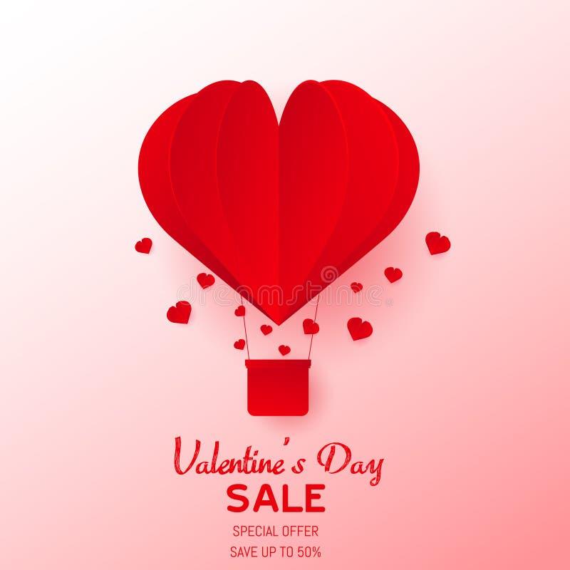 情人节快乐与纸的贺卡削减了桃红色心脏热空气气球飞行 向量 库存例证