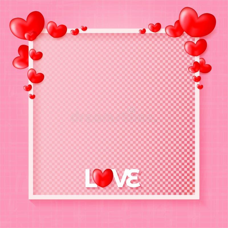 情人节快乐带有3D红心背景的爱情设计 库存例证