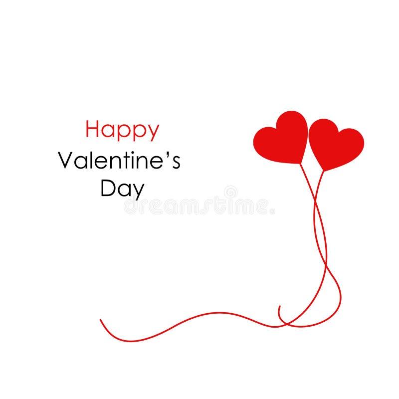 情人节快乐的两心脏横幅与短信和两个红色飞行的气球 皇族释放例证