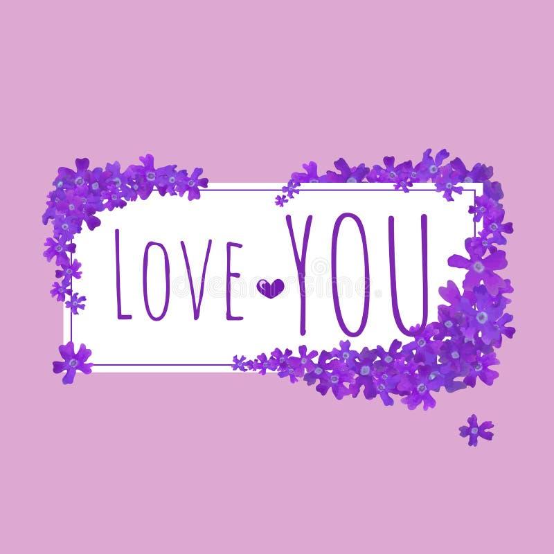 情人节快乐花卉卡片 在水彩样式的令人敬畏的花 春天卡片模板 习惯创作的元素 向量例证