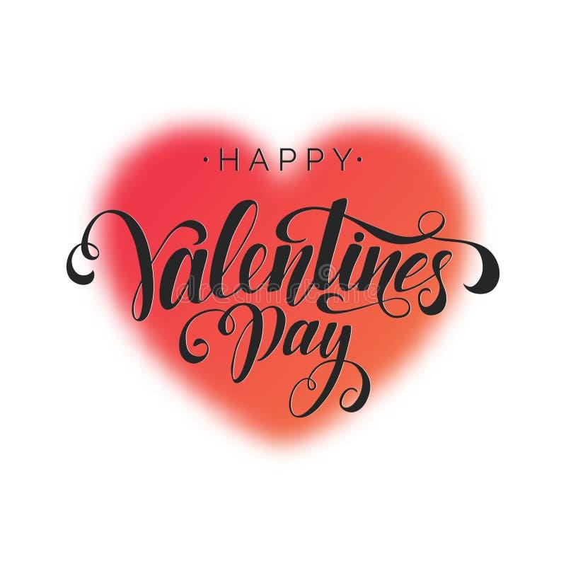 情人节快乐题字,导航字法 与红色传染媒介被弄脏的心脏的装饰背景 手书面卡片 库存例证