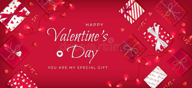 情人节快乐飞行物,与棒棒糖,诗歌选,蛇纹石,在红色和白色的礼物盒的水平的网横幅背景 向量例证