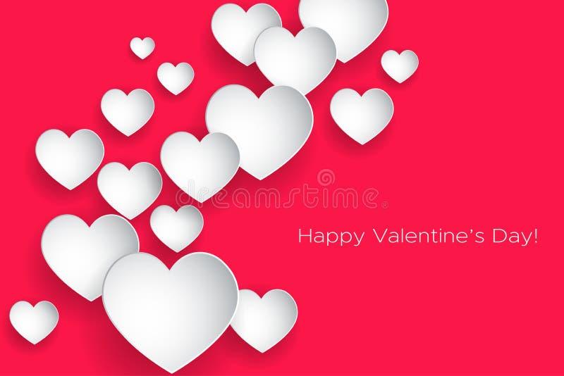 情人节快乐!美好的心脏!在桃红色背景的抽象纸艺术3D心脏 可用的看板卡日文件华伦泰向量 向量例证