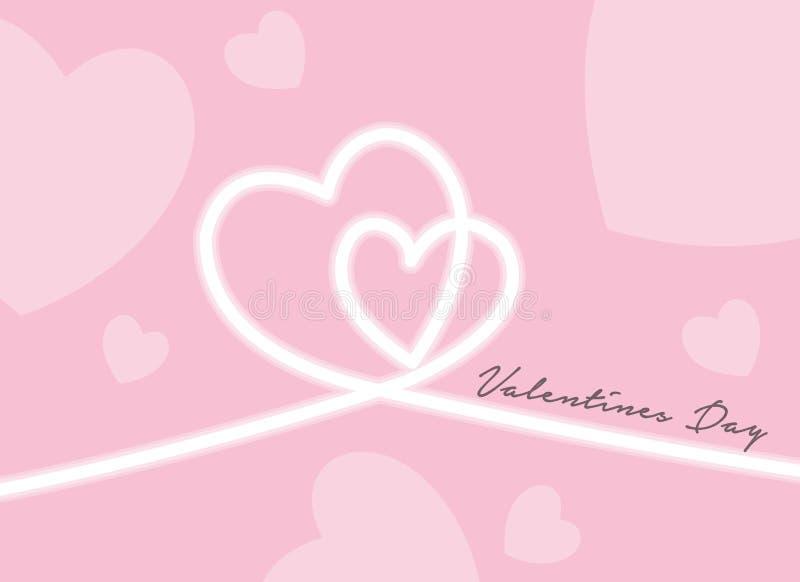 情人节快乐,心形轮廓笔划文本 免版税库存照片
