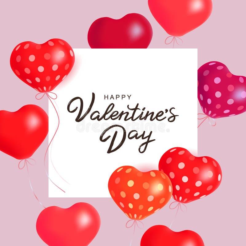 情人节快乐-手拉的五颜六色的印刷术字法海报 与红色,桃红色和紫色空气的传染媒介例证 库存例证