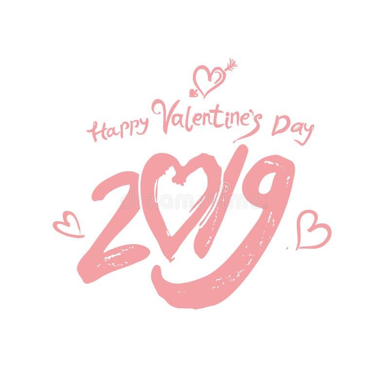 情人节快乐2019现代书法 手写的字法 浅粉红色书法2019年和心脏由丘比特的ar刺穿了 向量例证