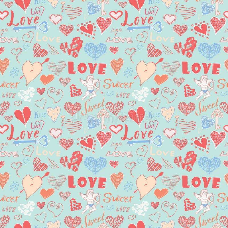 情人节手拉的元素无缝的样式 速写的乱画元素心脏标志和字法婚姻的邀请的 向量例证