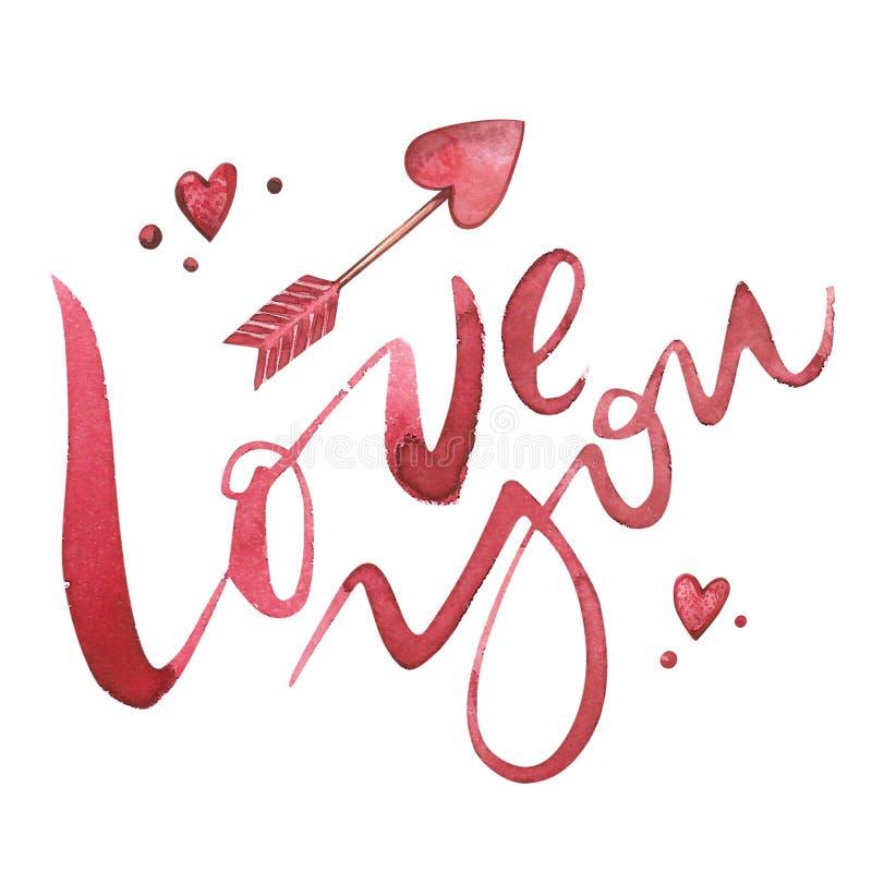 情人节文本 3d查出的背景镜象爱白色您 设计贺卡的浪漫行情,纹身花刺,假日邀请 水彩桃红色 皇族释放例证