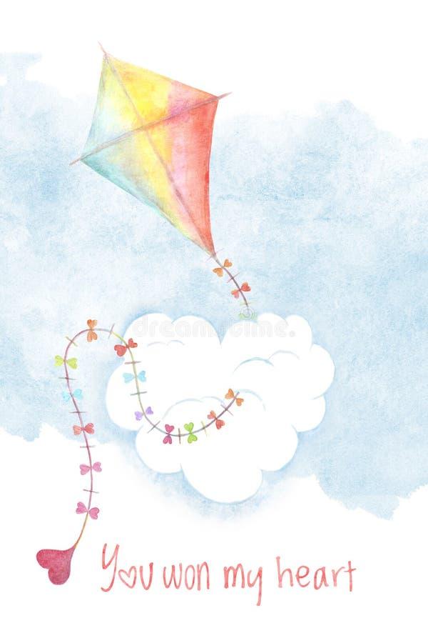 情人节有水彩风筝的卡片盖子 向量例证