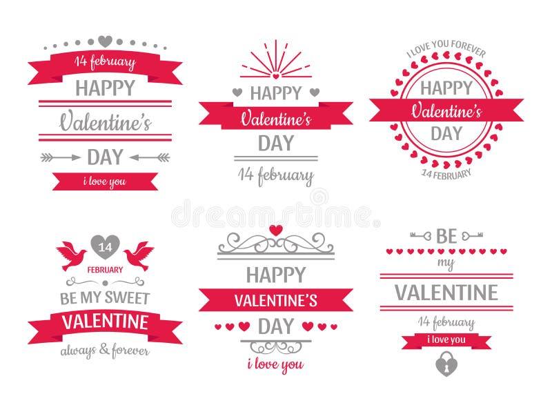 情人节标志 葡萄酒华伦泰卡片、减速火箭的爱夫妇心脏标签和爱愿望心脏框架传染媒介 库存例证