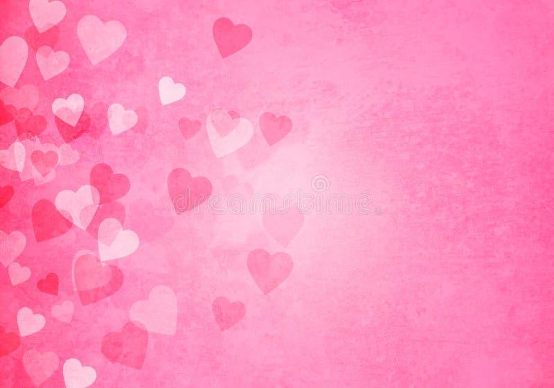 情人节桃红色心脏背景 库存例证