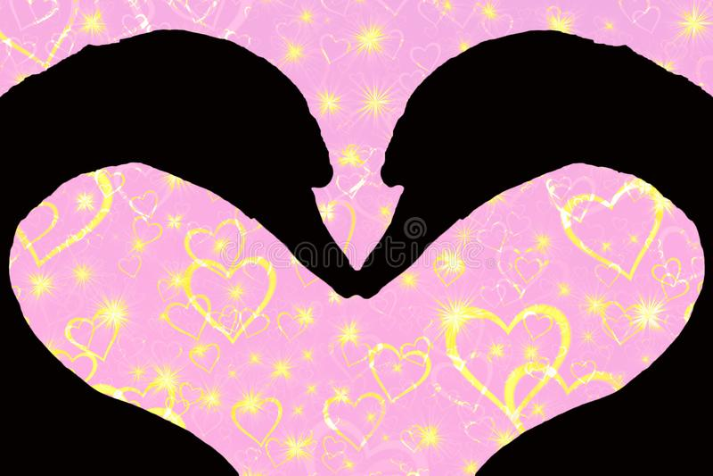 情人节概念,一起形成心形的两个天鹅头剪影,在与金黄的桃红色背景 向量例证