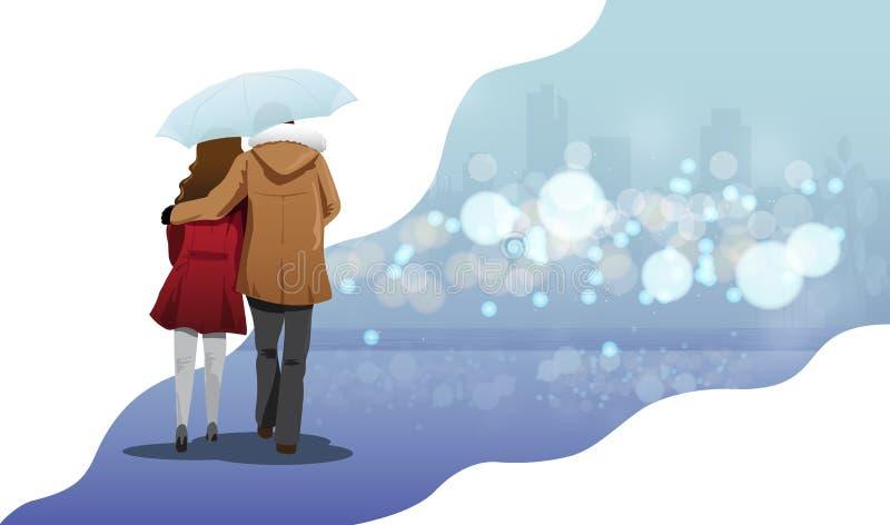 情人节概念,走在伞在秋天季节背景中,传染媒介例证图表下的爱的夫妇 向量例证